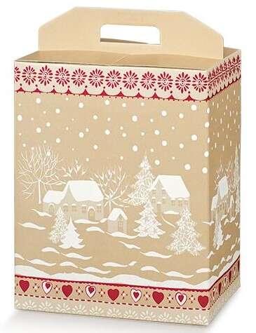 Geschenkschachtel 4-eckig Pappe gold/ weiss/ rot 'Schneelandschaft' : Geschenkschachtel präsentbox