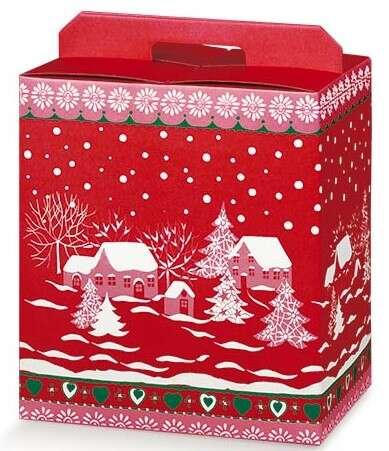 Geschenkschachtel 4-eckig rot/ weiss 'Schneelandschaft' : Geschenkschachtel präsentbox