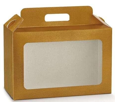 Geschenkschachtel 4-eckig Gold m. Fenster 'Gourmet' : Geschenkschachtel präsentbox