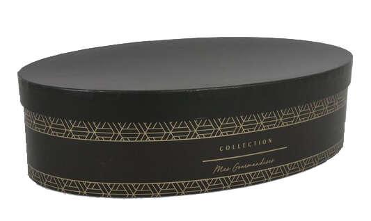 Geschenkschachtel m. Deckel oval schwarz : Geschenkschachtel präsentbox