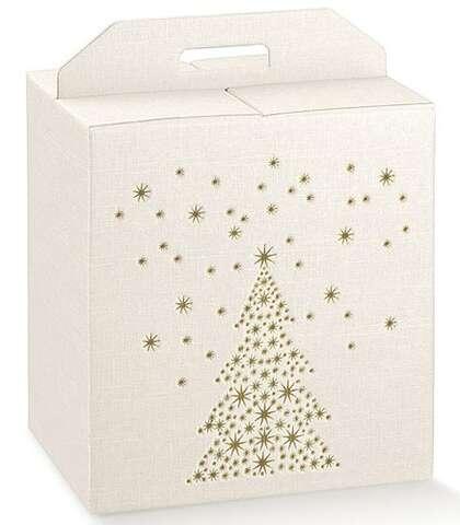 Geschenkbox weiss/ gold Tannenbaum : Geschenkschachtel präsentbox