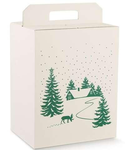 Geschenkbox weiss/ grün Winterlandschaft : Geschenkschachtel präsentbox