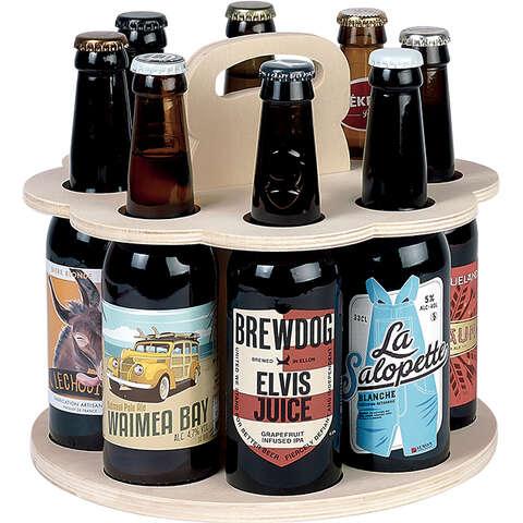 Bierträger Holz 8-Flaschen langhalsig : Verpackung fur flaschen und regionalprodukte
