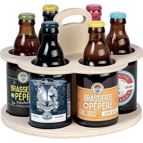Bierträger Holz 6-Flaschen STEINIE : Verpackung fur flaschen und regionalprodukte