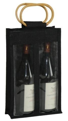 Geschenktasche Jute 2-Flaschen 75 cl m. Fenstern & Rattangriffen : Verpackung fur flaschen und regionalprodukte