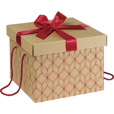 Geschenkschachtel 4-eckig Kraft rote Linien : Geschenkschachtel präsentbox