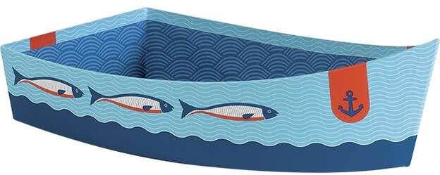 Geschenkkörbchen Pappe Form 'Boot' mit Meeresmotiv : Korb geschenkkorb präsentierungskorb