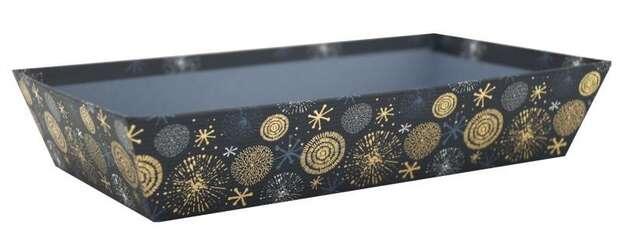 Pappkiste schwarz  m. Motiven Feuerwerk Gold : Korb geschenkkorb präsentierungskorb