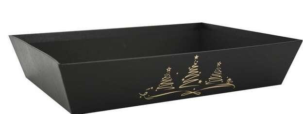Pappkiste schwarz m. Weihnachtsbäumen Gold : Korb geschenkkorb präsentierungskorb