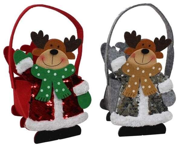 Sac feutrine Cerfs de Noël : Verpackung für feste