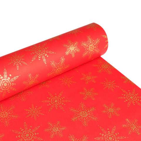 Papier cadeaux Aplat rouge / Flocons paillettes or  : Verpackungzubehör