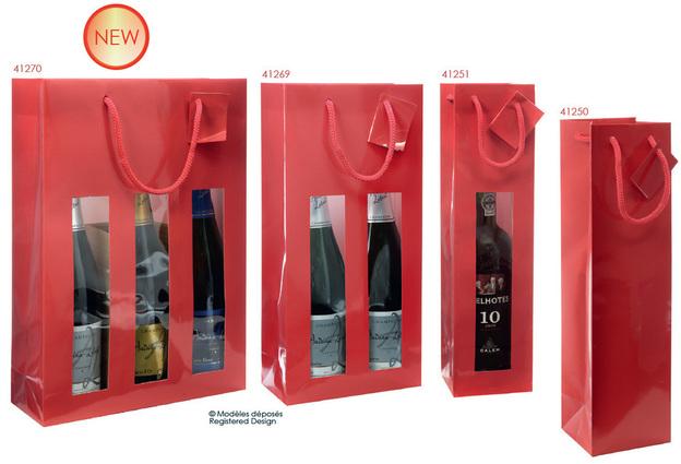 Geschenktasche 1/2/3-Flaschen rot Glanzlack : Verpackung fur flaschen und regionalprodukte