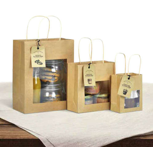 Geschenktasche Kraft braun m. Fenster : Verpackung für einmachgläser konfitürenglas preserve
