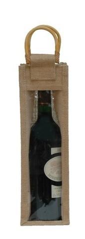 Geschenktasche Jute 1-Flasche 75 cl m. Fenster & Rattangriffen : Verpackung fur flaschen und regionalprodukte