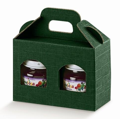 Geschenkschachtel Karton grün 2 Gefässe H.9 cm : Verpackung für einmachgläser konfitürenglas preserve