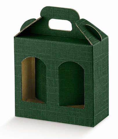 Geschenkschachtel Karton grün 2 Gefässe H.12 cm : Verpackung für glasbehälter konfitürenglas preserve