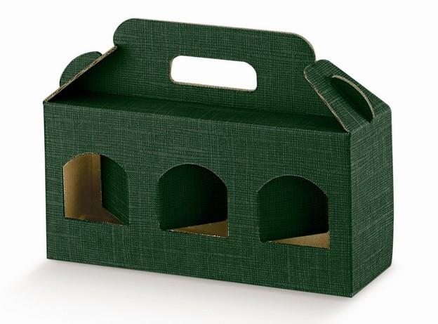 Geschenkschachtel Karton grün 3 Gefässe H.9 cm : Verpackung für glasbehälter konfitürenglas preserve