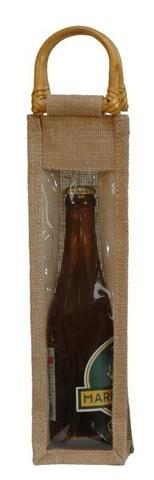 Geschenktasche Jute 1-Flasche 37.5 cl m. Fenster u. Rattangriffen - 250 St. : Verpackung fur flaschen und regionalprodukte