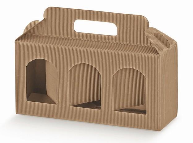 Geschenkschachtel Wellpappe 3 Gefässe H.12 cm : Verpackung für einmachgläser konfitürenglas preserve