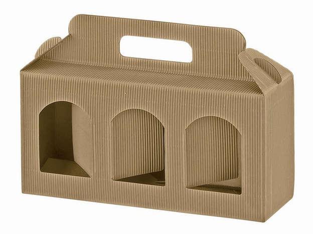 Geschenkschachtel Wellpappe 3 Gefässe H.9 cm : Verpackung für einmachgläser konfitürenglas preserve