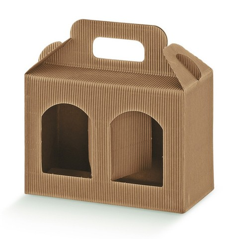 Geschenkschachtel Wellpappe für 2 Gefässe H. 12 cm : Verpackung für glasbehälter konfitürenglas preserve
