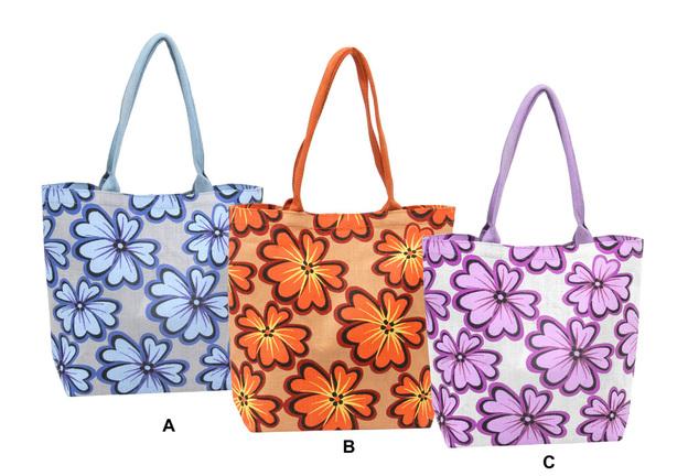 Handtasche Tragetasche Jute Blumen  : Ladentaschen einkaufstaschen