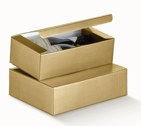 Weinkarton gold 2/3 Flaschen liegend : Verpackung fur flaschen und regionalprodukte