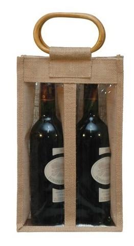 Geschenktasche Jute 2-Flaschen m. Fenster u. Rattangriffen : Verpackung fur flaschen und regionalprodukte