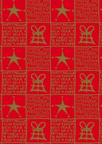 Rolle Geschenkpapier Kraft rot/gold : Verpackungzubehör