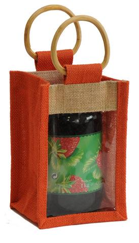 Geschenktasche Jute 1-Glas 1Kg m. Fenster & Rattangriffen : Verpackung für einmachgläser konfitürenglas preserve