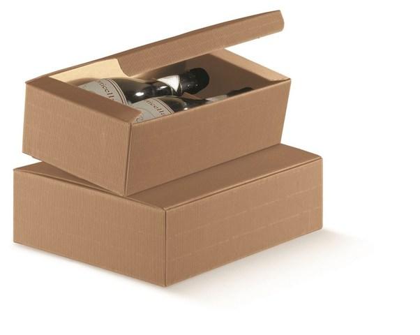 Flaschenkarton Wellpappe 2/3-Flaschen 'Milan Nature' : Verpackung fur flaschen und regionalprodukte