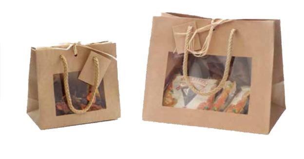 Geschenktasche horizontal Kraft braun m. Fenster : Verpackung für einmachgläser konfitürenglas preserve