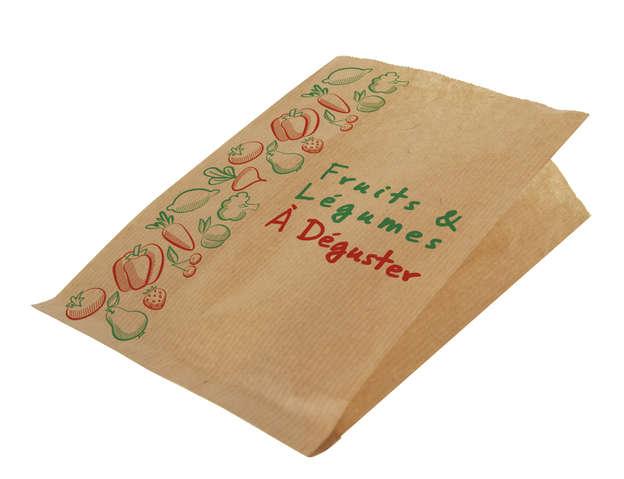 Krafttüte braun gerippt gedruckt 'Obst u. Gemüse' : Ladentaschen einkaufstaschen