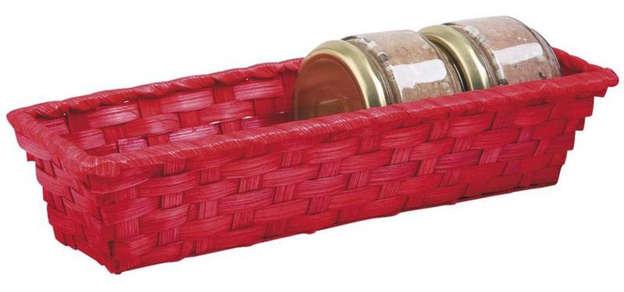 Präsentierungskorb 4eckig Bambus rot : Korb geschenkkorb