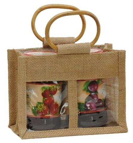 Geschenktasche Jute 2-Gläser 500Gr m. Fenster & Rattangriffen : Verpackung für einmachgläser konfitürenglas preserve
