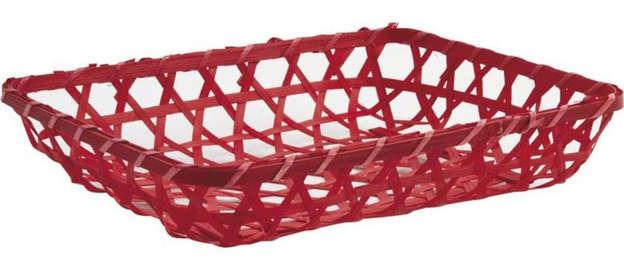 Präsentierungsschale 4eckig Bambus rot : Korb geschenkkorb präsentierungskorb