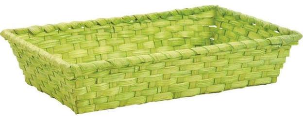 Präsentierungskorb Bambus 4eckig 33x20xH.7 cm grün : Korb geschenkkorb