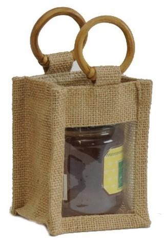Geschenktasche Jute 1-Glas 250Gr. m. Fenster Rattangriffen : Verpackung für einmachgläser konfitürenglas preserve