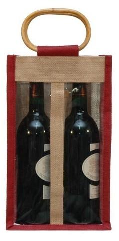 Geschenktasche Jute 2-Flaschen m. Fenstern u. Rattangriffen : Verpackung fur flaschen und regionalprodukte