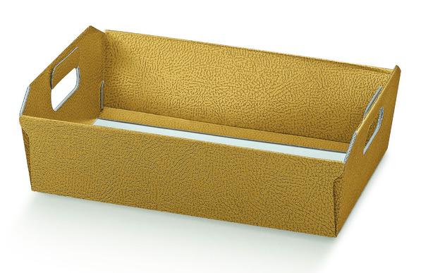 Geschenkkorb Karton 4eckig gold  31x22xH.9 mm : Korb geschenkkorb