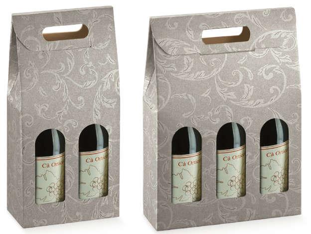 Flaschenkarton 2/3-Fl. grau Damaskus m. Faltverschluss : Verpackung fur flaschen und regionalprodukte