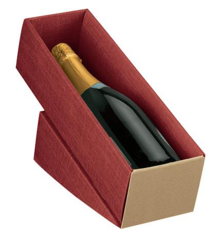 Weinkarton rot 1 Fl. Wein liegend : Verpackung fur flaschen und regionalprodukte