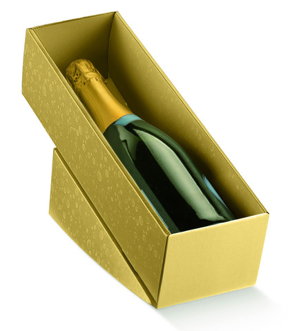 Weinkarton gold 1 Fl. Wein liegend : Verpackung fur flaschen und regionalprodukte