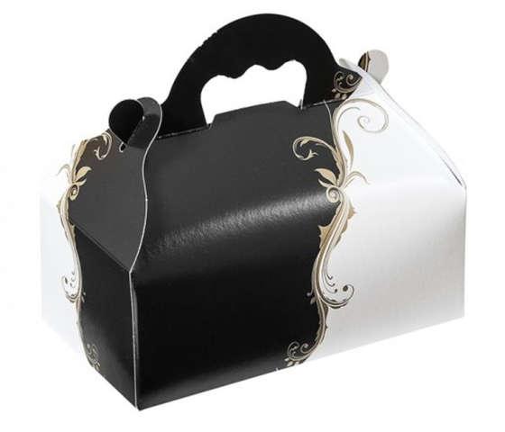Gebäck Tragekarton schwarz-weiss m. Henkeln : Geschenkschachtel präsentbox