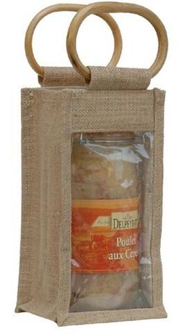Geschenktasche Jute 1-Glas 2Kg m. Fenster Rattangriffen : Verpackung für einmachgläser konfitürenglas preserve
