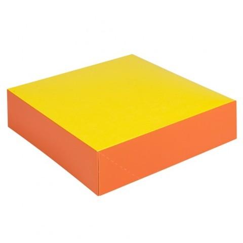 Tortenkarton 4-eckig knall orange-gelb Höhe 5 cm : Geschenkschachtel präsentbox