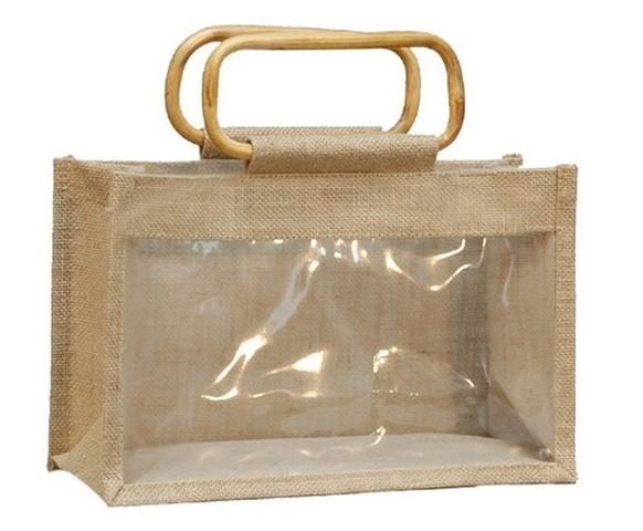 Geschenktasche Jute 3-Gläser 1Kg m. Fenster & Rattangriffen : Verpackung für glasbehälter konfitürenglas preserve