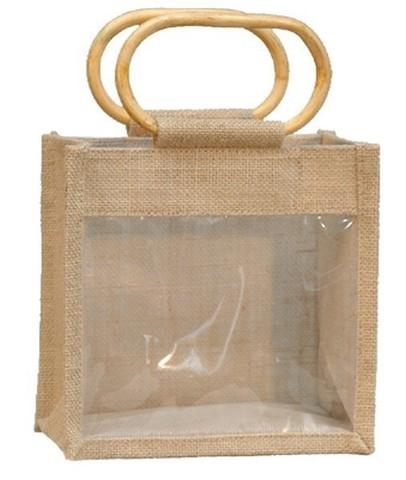 Geschenktasche Jute 2-Gläser 1Kg m. Fenster & Rattangriffen : Verpackung für glasbehälter konfitürenglas preserve