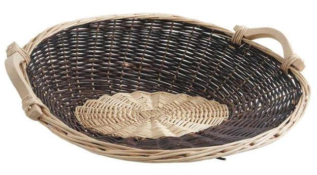 Präsentschale Weide 2farbig rund 56/50xH.19 cm : Korb geschenkkorb