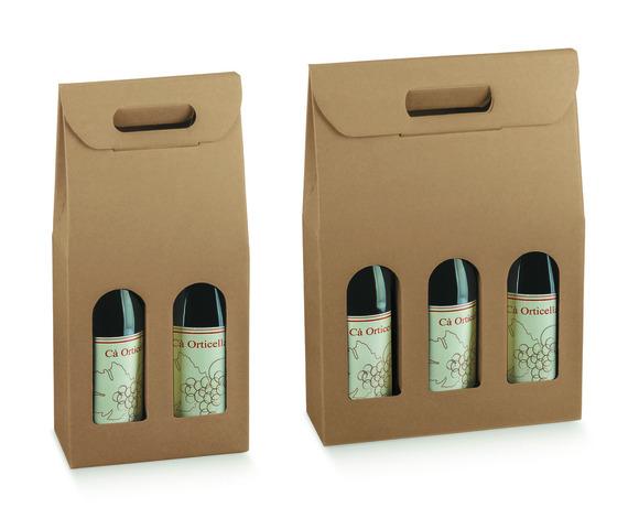 Flaschenkarton Kraft 2/3-Fl. Wein m. Fenster : Verpackung fur flaschen und regionalprodukte